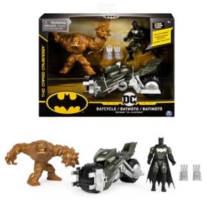 Batman 4-Inch Batcyle with Batman & Clayface Figures